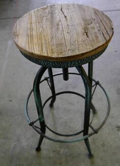 New Industrial Vintage Rustic Timber Metal Replica Toledo Stools