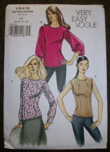 VOGUE Very Easy Pattern 8419 Semi-Fitted Shirt Top 6-8-10-12 Uncut