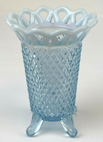 Imperial Diamond Point Open Laced Edge Opalescent Blue Glass Vase