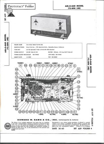 1963 PHOTOFACT Air-O-Ear Model 711-WN LF-BC-SW-VHF Aircraft Receiver  #2854