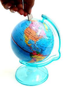 Globe Money Box Piggy Bank Money Saving Box World Globe Cash Can Cash Tin Box