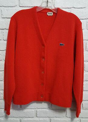 Vintage 1960S Haymaker Izod Lacoste Ladies Red Cardigan Sweater Size M