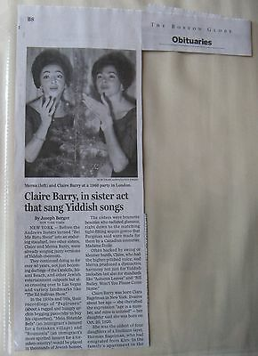 Obituary  Boston Globe 12 5 2014 Claire Barry 1950S Sister Act Yiddish Songs