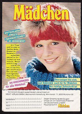 3w1007/ Alte Reklame - von 1984 - MÄDCHEN - Deutschlands jüngste Frauenzeitschri