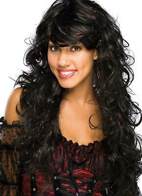 Chic Wig black hair red tinsel novelty fashion female wig performance quality  (Novelty Wig)
