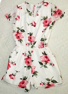 Girls ABERCROMBIE KIDS Size 9-10 9 10 Rose Print ROMPER outfit Sheer Sleeves EUC