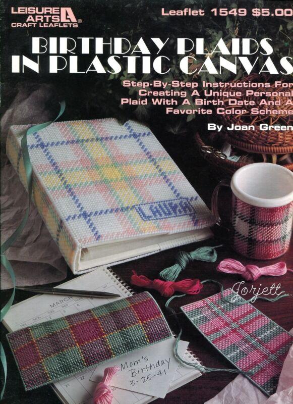 Birthday Plaids, Boutique Tissue Mug Tote & More plastic canvas pattern book NEW