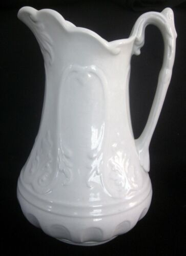 "Antique White Ironstone NEW YORK Elaborate 12"" Pitcher Unmarked Clementson"