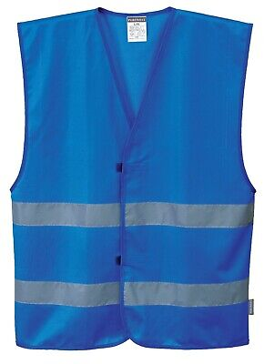 Portwest Iona Reflective Two Band Safety Vest,2XL/3XL,Royal Blue,F474, Free Ship