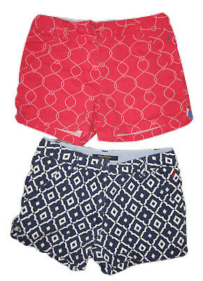 LOT of 2 Girls Kids NAUTICA Red Navy Blue Geometric Print Shorts Cotton Sz 6/7