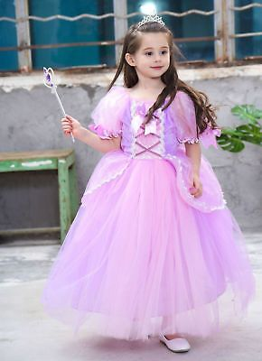 US STOCK Sofia The First 6 Layers Costume Girls Princess Dress Gown 3-10 [111b] - Princess Sofia The First