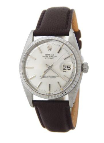 Rolex Datejust 1603 Mens Stainless Steel Watch Dark Brown Strap Band Silver Dial