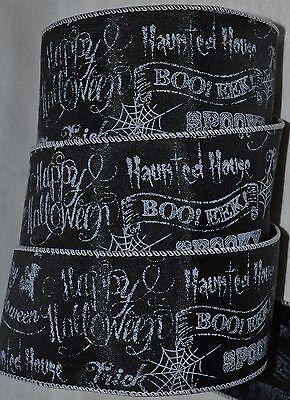 Wired Ribbon~Happy Halloween Sayings~Boo~Spooky~Black~White~Web~Wreath~2.5