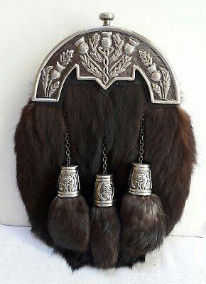 Scottish Kilt Original Rabbit Full Dress Sporran Antique Chrome Thistle Cantel  for sale  Shipping to India