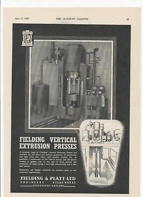 1949 Print ad FIELDING VERTICAL EXTRUSION PRESS + Clyde Rubber/Edgar Allen Steel