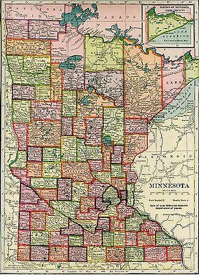 Original Antique 1904 Map MINNESOTA Mankato Winona St Cloud Duluth Brainerd M N