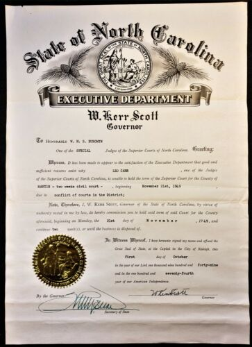 RARE DOCUMENT NORTH CAROLINA GOVERNOR W KERR SCOTT AUTOGRAPH SIGNED COMMISSION