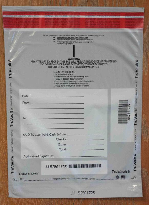 Tamper Evident Plastic Deposit Bags - Opaque (100 bags)