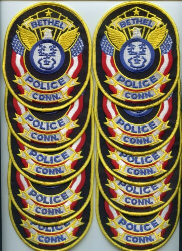BETHEL CONNECTICUT Patch Lot Trade Stock 10 Police Patches POLICE PATCH