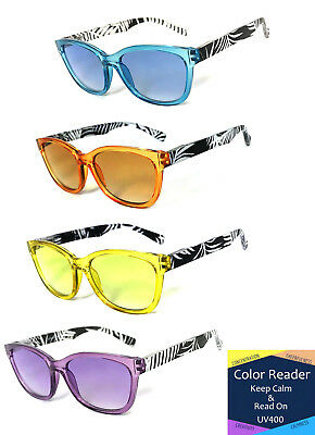 1 or 2 Pairs Cat Eye Frame Full Magnified Tinted Color Lens Reading (Eye Color Lens)