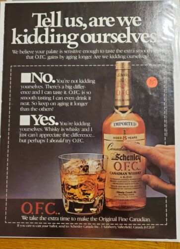 MAN CAVE ART- Vintage Advertising 1984 Canadian Schenley O.F.C Whiskey Ad #115