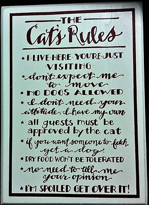 """The Cat's Rules, Wooden Sign for Table, Red Letters on Creme, 9.38"""" Tall"""