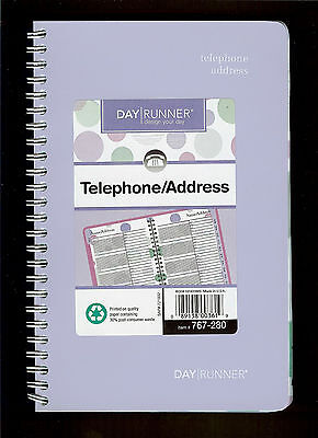 New Day Runner Telephone Address Book Lavender Bubbles Spiral Bound 767-280
