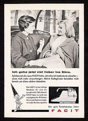 3w1455/ Alte Reklame von 1958 - FACIT Schreibmaschinen