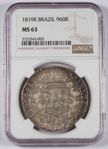 Brazil 1819 R 960 REIS 960R Silver Coin NGC MS63 BU Overstruck Peru 8 Reales