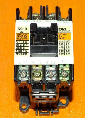 New Fuji Electric Contactor Type: SC-0, Cat. No. SC13AA, 110 Volt Coil, 3-pole