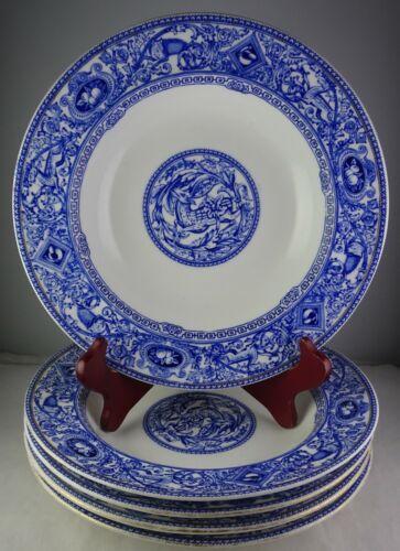 5 Antique English Transferware Rim Soup Bowls – Blue with Gold Trim – Animals
