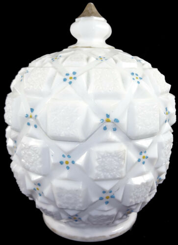 """Westmoreland Milk Glass w/HP Forget Me Nots Old Quilt 6.25""""t Covered Candy Bowl"""