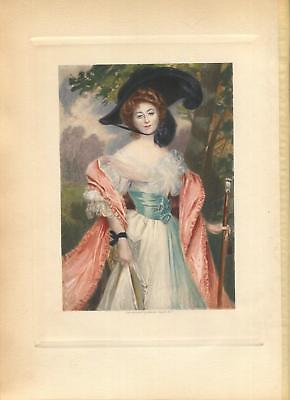 ANTIQUE GORGEOUS WOMAN BLACK HAT SYLVAN TREES HAND COLORED VICTORIAN ART PRINT