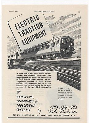 1949 Ad for G.E.C. ELECTICAL TRACTION EQPT + Nelson Stud Welding on rear