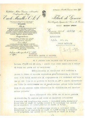 ERCOLE MARELLI GENOVA LETTERA 1932 VENTILATORI MOTORI DINAMO ALTERNATORI POMPE