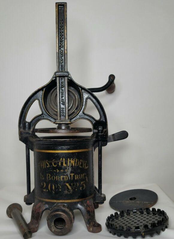 Enterprise Manufacturing Sausage Stuffer Lard Wine Antique 1800s Bored True 1876