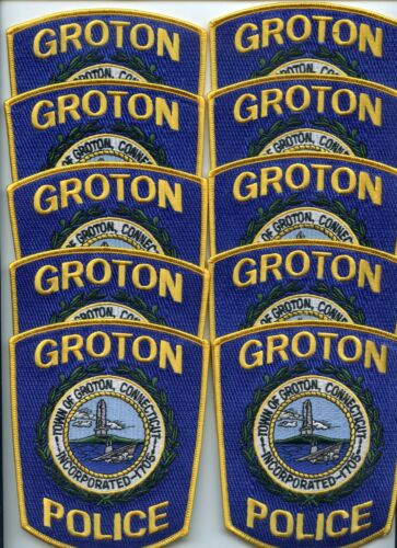 GROTON CONNECTICUT Trade Stock 10 Police Patches LIGHTHOUSE POLICE PATCH