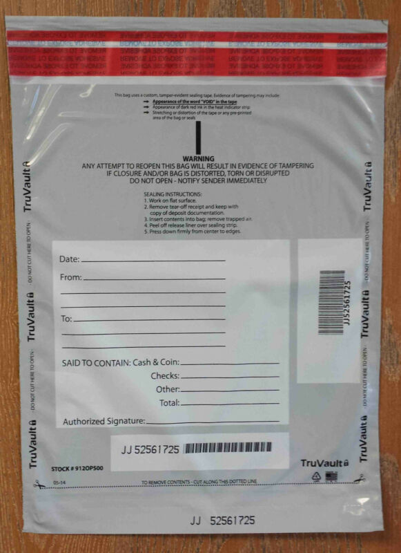 Opaque Tamper Evident Security Deposit Bags, 500/pack (