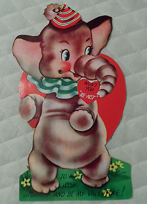 Vtg Valentine's Day Card 50's Mechanical Circus Elephant