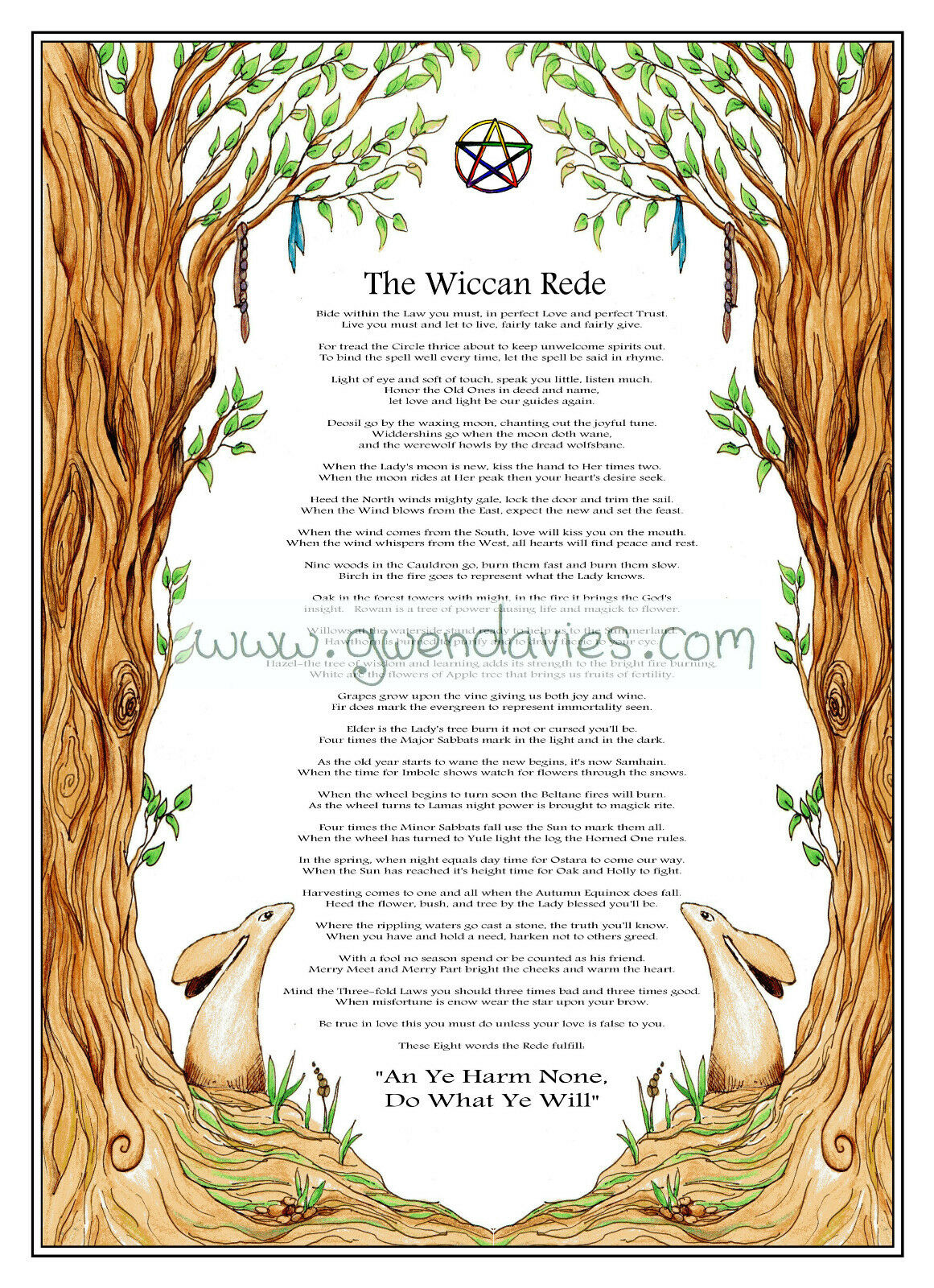 2018 Lunar Calendar Wiccan Rede And Wheel Of The Year Pagan Poster