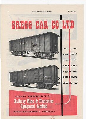1948 advert for GREGG RAILWAY CAR COMPANY + Wickman Metal Working Co on the back