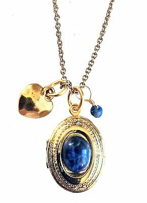 Alisa Michelle Gold Plated Loved Oval Locket with Blue Sodalite Gemstone Charms