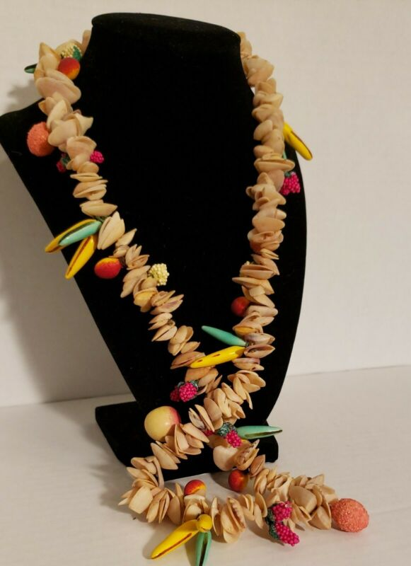 VINTAGE STRAND NATURAL TINY LITTLE SHELLS NECKLACE/HAWAIIAN LEI colorful fruits