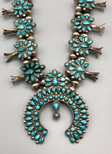 Fabulous 1940s Cluster Style Squash Blossom Necklace