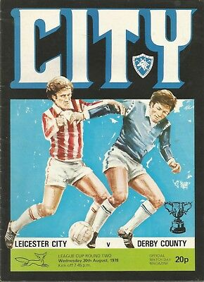 Football Programme - Leicester City v Derby County - League Cup - 30/8/1978