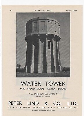 1948 Advert for PETER LIND & CO's BIGGLESWADE WATER TOWER & GEC Cables on back