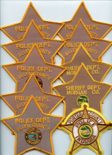 INDIANA IN POLICE PATCH LOT #B Trade Stock 10 police patches POLICE PATCH