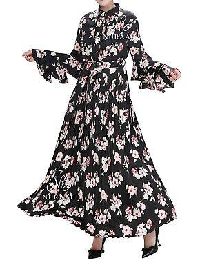 Women Summer Flower Long Maxi Dress, Floral Printed Dress Abaya Jilbabs