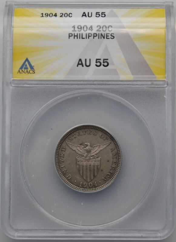 1904 Philippines 20 Centavos ANACS AU 55 Nice Problem Free Silver Coin
