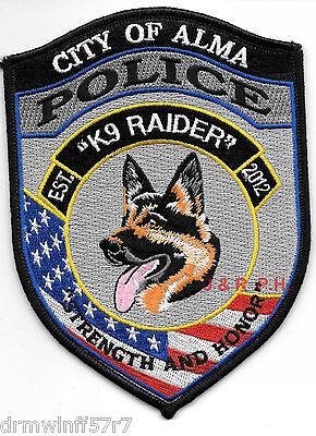 "Alma, GA  K-9  ""Raider""  (4"" x 5.5"" size)  shoulder police patch (fire)"